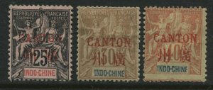 France Offices in China 1901 overprinted Canton on Indo-China 3 values mint o.g.