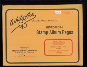 2009 White Ace U.S Commemorative Issue Plate Block Stamp Supplement Pages PB-61