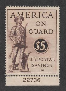 PS15 MNH $5 Savings Stamp, scv: $42.50, Plate # Single, Free Insured Shipping,