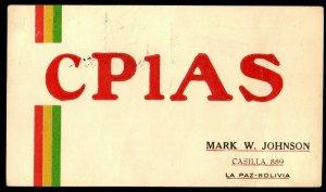QSL QSO Radio Card CP1AS,1950,Mark W. Johnson, La Paz-Bolivia, (Q3304)