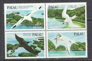 Palau C4a MNH 1984 Birds block block of 4 (ap7332)