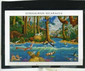 NICARAGUA 1994 PREHISTORIC ANIMALS/DINOSAURS SHEET OF 16 STAMPS MNH