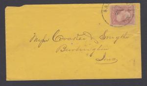 US Sc 64 on 1861 Cover, St. Louis to Burlington, Iowa w/ Enclosure VF