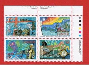 Canada #1233-1236  MNH OG block of 4 Explorers  Free S/H