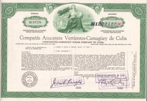 Cuba Stock Certificate Sugar Company 100 Shares Vertientes,Camaguey Cancelled