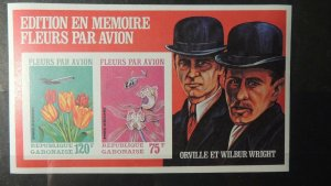 Gabon 1971 flowers by air wright brothers aviation imperf souvenir sheet MNH