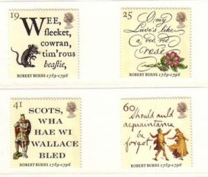 Great Britain Sc 1639-42 1996 Robert Burns stamp set mint NH