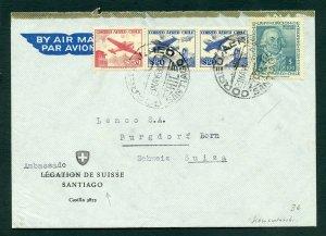 CHILE SANTIAGO 5/31/58 AIR MAIL COVER TO SCHWEIZ SWITZERLAND AS SHOWN
