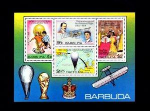 BARBUDA - 1978 - WRIGHT BROTHERS - SOCCER - BALLOON - QE II + MINT NH S/SHEET!