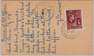 VIRGIN ISLANDS -  POSTAL HISTORY - CARD from ROAD TOWN with nice text 1946