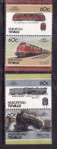 Tuvalu-Nukufetau-Sc#34-5- id5-unused NH Trains-Locomotives-1985-88-