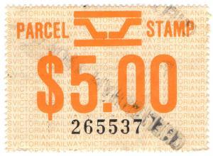 (I.B) Australia - Victoria Railways : Parcels Stamp $5 (Cheltenham)