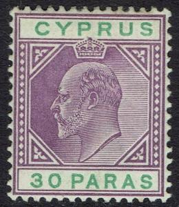 CYPRUS 1902 KEVII 30PA WMK CROWN CA