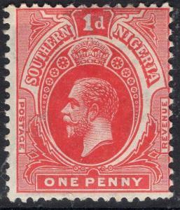 SOUTHERN NIGERIA SG46 1912 1d RED MTD MINT