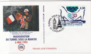 France 1994 Inaug Channel Tunnel Pic Slogan Cancels + Stamp FDC Cover Ref 31719