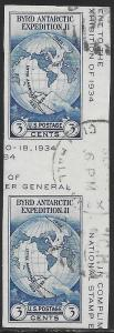 US 768a Used Gutter Pair - Byrd Antarctic Expedition II