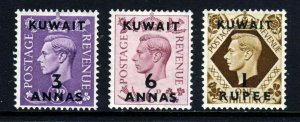 KUWAIT KG VI 1948-49 Overprinted KUWAIT on KG VI Group to 1R SG 69 to SG 71 MINT