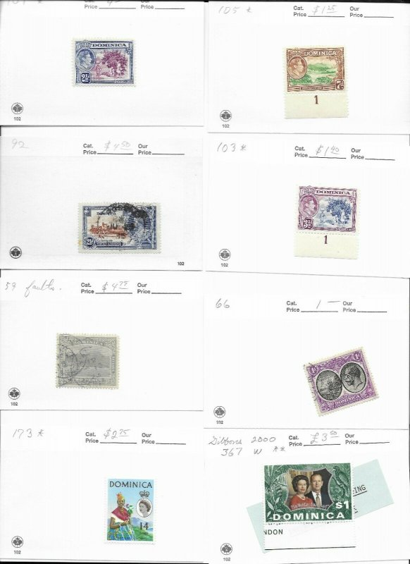 Dominica Lot of 8 Stamps MH/USED CAT VALUE $22.00