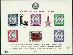 Nicaragua Mi 2147 Bl.126,MNH. Olympics-Moscow-1980.Alphabetization,Lincoln.