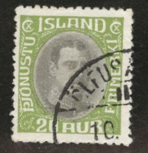 ICELAND Scott o45 used 1920 official stamp CV$4