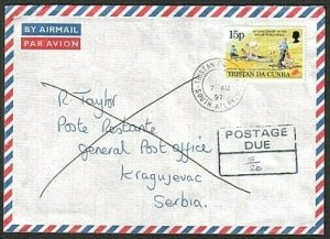 TRISTAN DA CUNHA 1997 Returned postage due cover to SERBIA.................77409