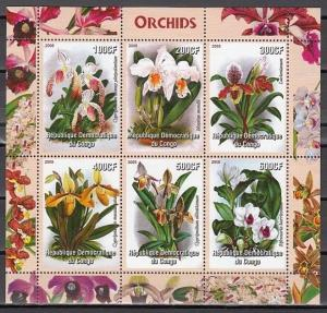 Congo, Dem. 2005 Cinderella issue. Orchids sheet of 6.