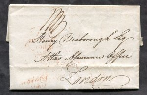 p690 - IRELAND 1836 SFL Folded Letter / Cover to London. Insurance Matters