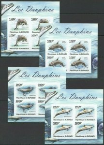 W1088 IMPERFORATE 2011 BURUNDI FAUNA MARINE LIFE DOLPHINS DAUPHINS !!! 4KB FIX