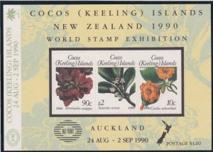 Cocos Islands # 217, World Stamp Exhibition,  Flowers, NH, 1/2 Cat.
