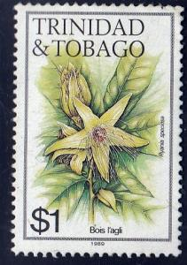 Trinidad and Tobago #402j Ryania Speciosa Flower, used. PM, Sm. Crease