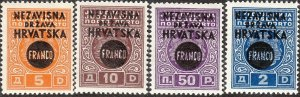 Stamp Croatia Sc 26-9 1941 WWII Germany 3rd Reich Yugoslavia Surcharge MNH