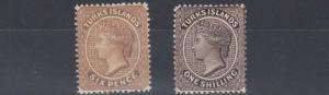 TURKS & CAICOS  1887 - 89   S G 59 - 60  6D & 1/- VALUES   MH