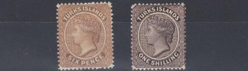 TURKS & CAICOS  1887 - 89   S G 59 - 60  6D & 1/- VALUES   MH