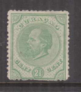CURACAO, 1873 perf. 14, small holes, 2 1/2c. Green, mint no gum as issued.
