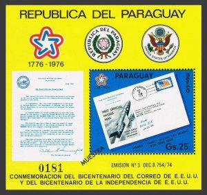 Paraguay 1672-1673 Muestra,MNH.Michel Bl.279-280.USA-200,1976.Flight,Moon covers