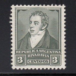 Argentina 1926 3c Rivadavia Green. Harrison & Sons trial printing. MNH. Scarce