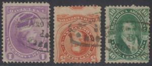 ARGENTINA 1867-73 Sc 18A, 20 & 22 CORREO NACIONAL DEL ROSARIO CANCELS