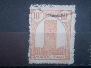 FRENCH MOROCCO, 1943, used 10c, Tower of  Hassan, Scott 178