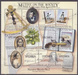 1989 Niuafo'ou 123-134/B7 200 years of rebellion on the Bounty (SPECIMEN) 70,00