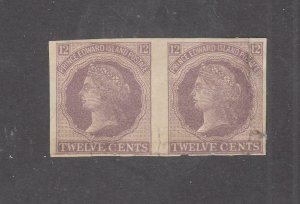 PRINCE EDWARD ISLAND # 16a GUTTER PAIR IMPERF Q/VIVTORIA 12cts CAT VAL $750
