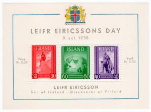 (I.B-CK) Iceland Postal : Leifr Ericssons Day Mini-Sheet (1938)