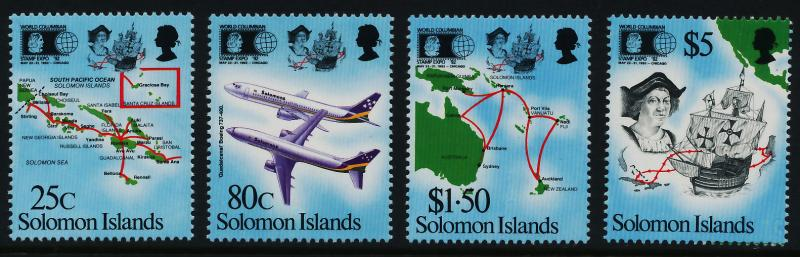 Solomon Islands 723-6 MNH Christopher Columbus, Aircraft, Map