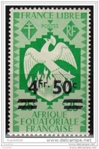 Afrique Equatoriale Francaise, 1941, Phoenix,surcharge 4.50fr on 25c,sc#164, MLH