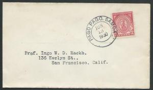 AMERICAN SAMOA 1930 2c Massachusetts on cover ex PAGO PAGO.................27410
