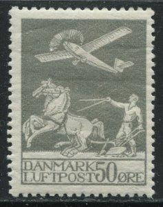 Denmark 1929 50 ore gray Airmail mint o.g.hinged