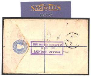 MS2116* 1885 GB Registered Env *GREAT NORTHERN TELEGRAPH Co* Handstamp DENMARK