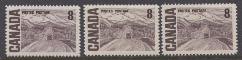 Canada #461 8c Deep Purple Brown 1967-73 Centennial 3 Papers Group 2 VF-80 NH