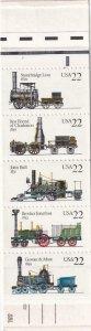22c Steam Locomotives Booklet, Sc #2366/BK 163, MNH (10016)