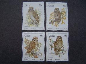 Ciskei 1990 MNH Birds Owls 4 v set + m/s Mi# 183-86