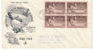 #968 FDC, 3c Poultry Industry, Art Craft cachet, block of 4